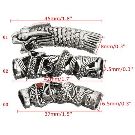 3Pcs Norse V ikings Beads Hair Tube Beads Dreadlocks for Beards Hair Paracord Pendants & Bracelets DIY - image 1 of 7