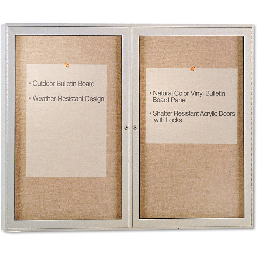 "Ghent Enclosed Outdoor Bulletin Board, 48"" x 36"", Satin Finish"