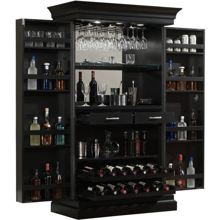 American Heritage Ashley Heights Black Stain Home Bar Wine