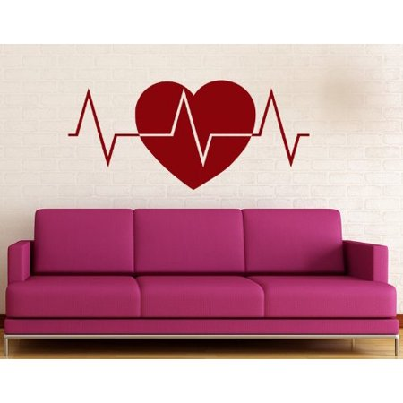 - Heart Beats Wall Decal - wall decal, sticker, mural vinyl art home decor - 4130 - White, 16in x 7in