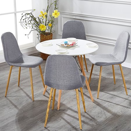 Vecelo Set of 4 Dining Side Chairs,Modern Cushion Back Chairs Wooden Legs,Grey