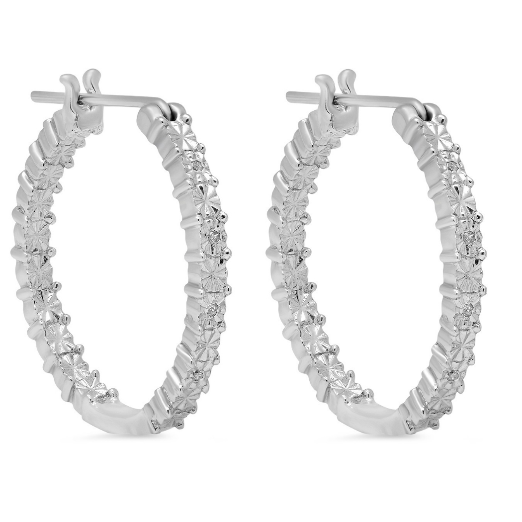 Amanda Rose Diamond Hoop Earrings set in Sterling Silver