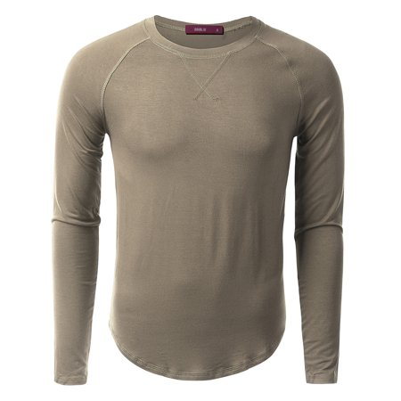 (Doublju Mens Long Sleeve Crewneck Raglan Sweatshirt)
