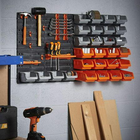 MCombo 44 Piece Wall Mounted Storage Rack DIY Garage Storage Hook Organizer Set Plastic Shop Hand Tool, ST02