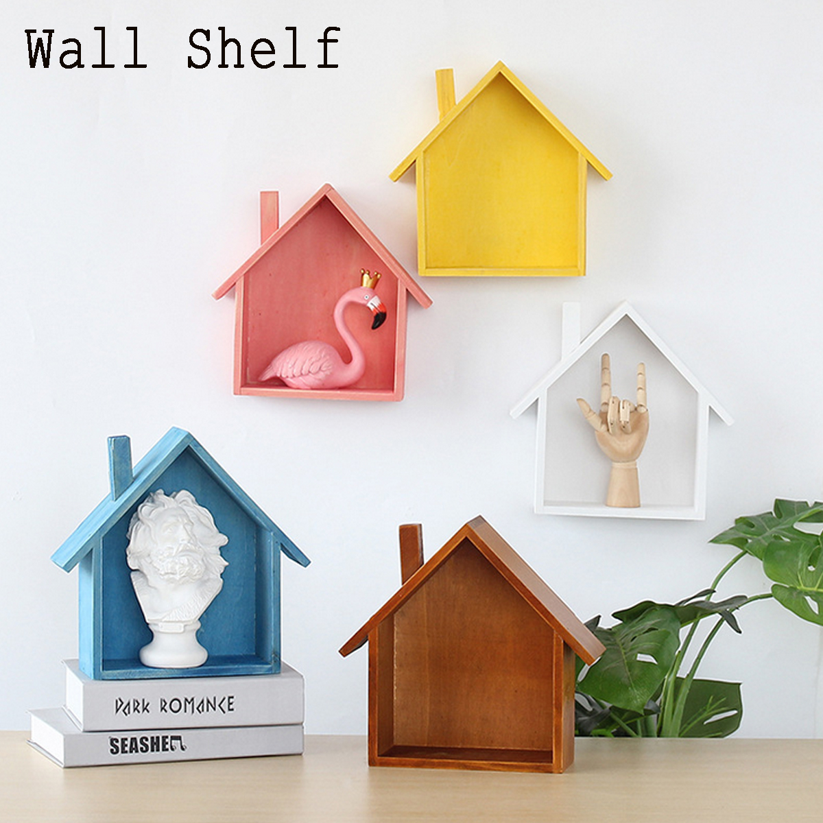 "7.2""x2.8""x9.3"" Wooden Hanging Wall Shelves Display Storage Flowerpots Holder Wall Shelf Wall Decorate"