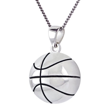 New 0.925 Sterling Silver 3D Small Basketball Sport Charm Ball Pendant Necklace ()
