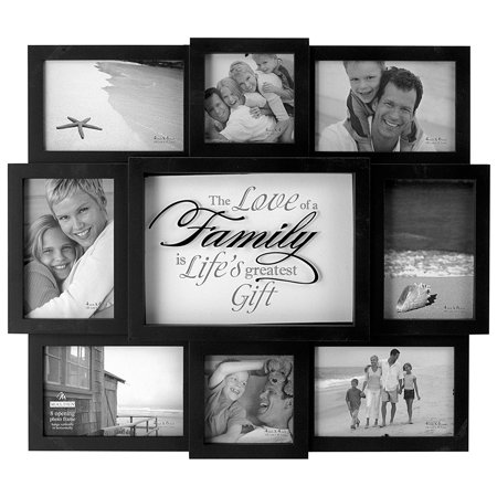 The Love of a Family Dimensional Collage Black Picture Frame, 8 Option, 6-4x6 & 2-4x4, BlackWipes clean By Malden International