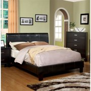 Furniture of America Mevea King Upholstered Panel Bed in Espresso