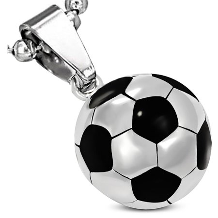 Stainless Steel Silver-Tone Black Soccer Ball Football Pendant Necklace, 24