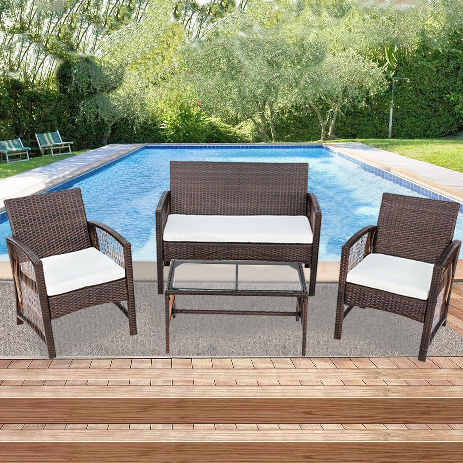 Rattan Patio Furniture Sets Clearance, 4 Piece Outdoor ...
