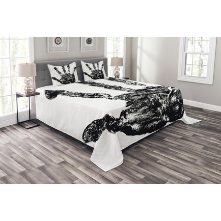 Modern Bedspread Set, Hand Print with Human Fingers in Grunge Motley Stylized Identity Stamp Touch Display, Decorative Quilted Coverlet Set with Pillow Shams Included, Black, by Ambesonne