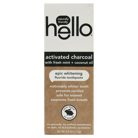 hello Activated Charcoal Whitening Fluoride Toothpaste , sls Free and Vegan , 4oz