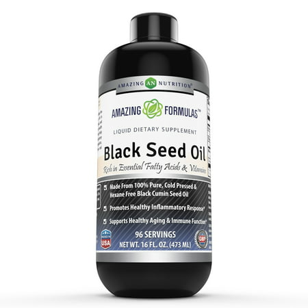 Amazing Formulas Black Seed Oil Natural Dietary Supplement - Cold Pressed Black Cumin Seed Oil from 100% Genuine Nigella Sativa - 16 oz.