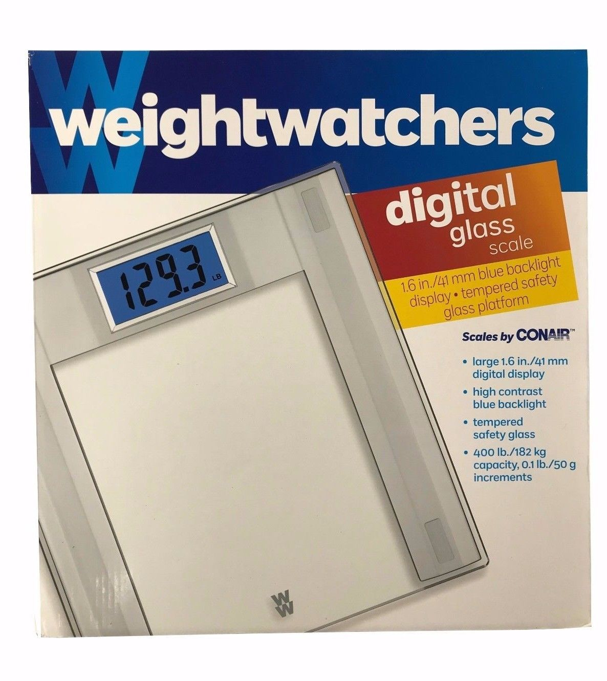 Conair Weightwatchers Digital Glass Scale 400lb/182kg Capacity, Large Display