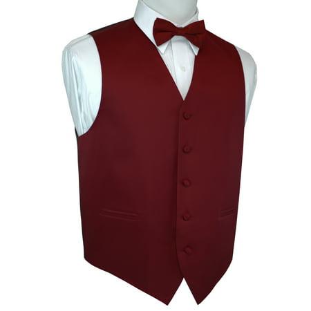 Tuxedo Vest Burgundy Bow Tie (Italian Design, Men's Tuxedo Vest, Bow-tie -)