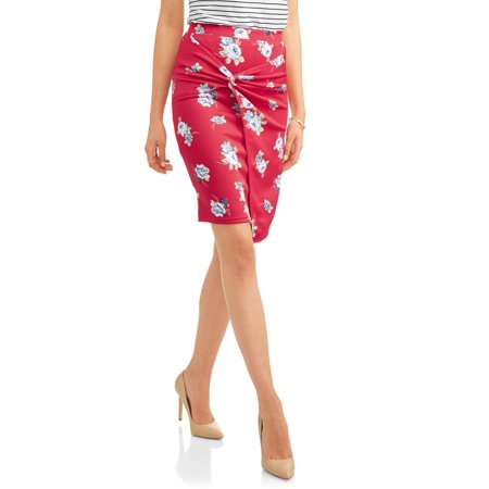 Women's Pull On Knotted Scuba Skirt