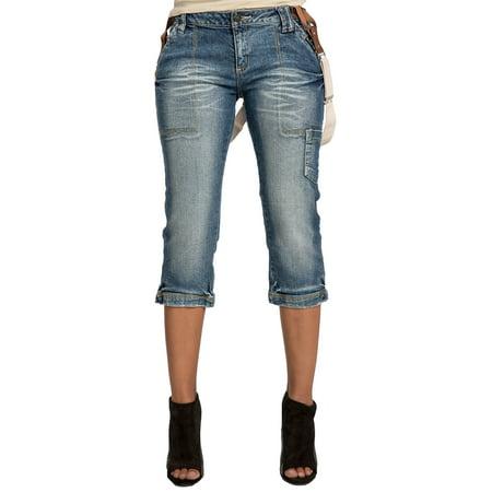 Sweet Vibes Junior Womens Capri Jeans Blue Stretch Denim Removable Suspenders