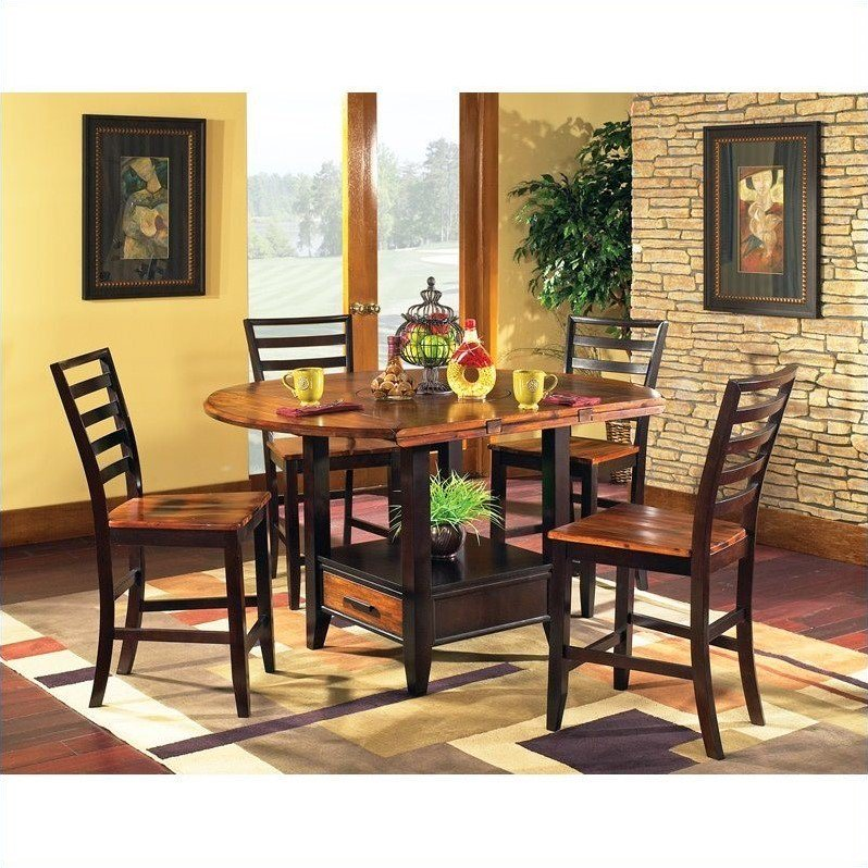 Steve Silver Abaco 5pc Round Counter Dining Room Set in Acacia by Steve Silver Company