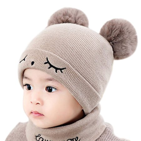 Closed Eyes Pattern Baby Toddler Knitted Yarn Warm Hat Set Double Ball Decor Winter/Autumn Newborn Cap Free Knitting Pattern Baby Hats