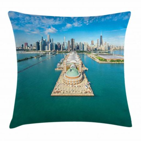 Chicago Skyline Throw Pillow Cushion Cover, Aerial Panorama of Navy Pier Marine Metropolis Big City Silhouette View, Decorative Square Accent Pillow Case, 18 X 18 Inches, Multicolor, by Ambesonne
