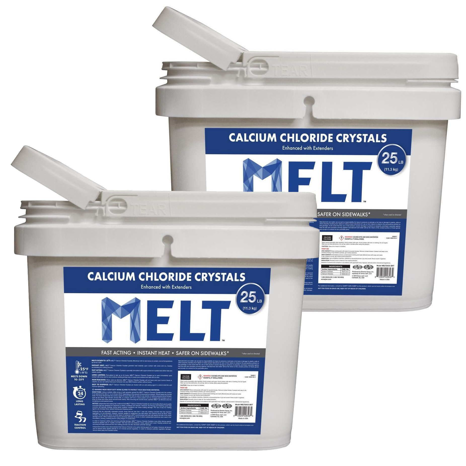 Snow Joe Melt Ice Removal Calcium Chloride Crystals 25 Pound Bucket (2 Pack)