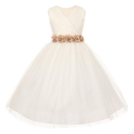 Big Girls Ivory Champagne Chiffon Floral Sash Tulle Junior Bridesmaid Dress 12](Girls Dresses 12)