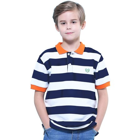 LEO&LILY Big Boys Short Sleeves Striped Pique Rugby Polo (Boys Striped Polo Rugby Shirt)