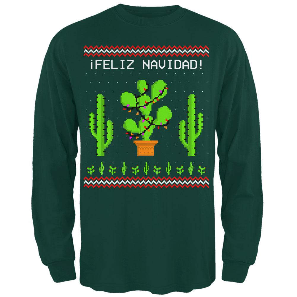 Cactus Desert Feliz Navidad Ugly Christmas Sweater Mens Long Sleeve T Shirt