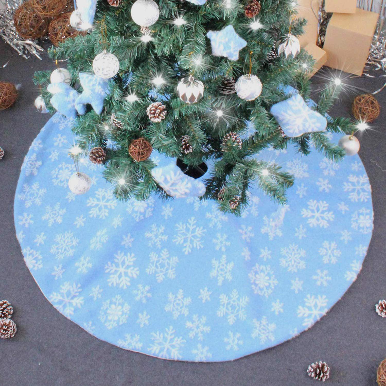 Christmas Tree Skirt 48inch 35inch Plaid Tree Skirt Blue Three Dimensional Snowflake Xmas Tree Skirt Decorations Xmas Decor For Holiday Party Home 48 Inch Walmart Canada