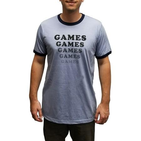 - Games Games Games T-Shirt Adventureland Movie Costume Blue Ringer James Brennan