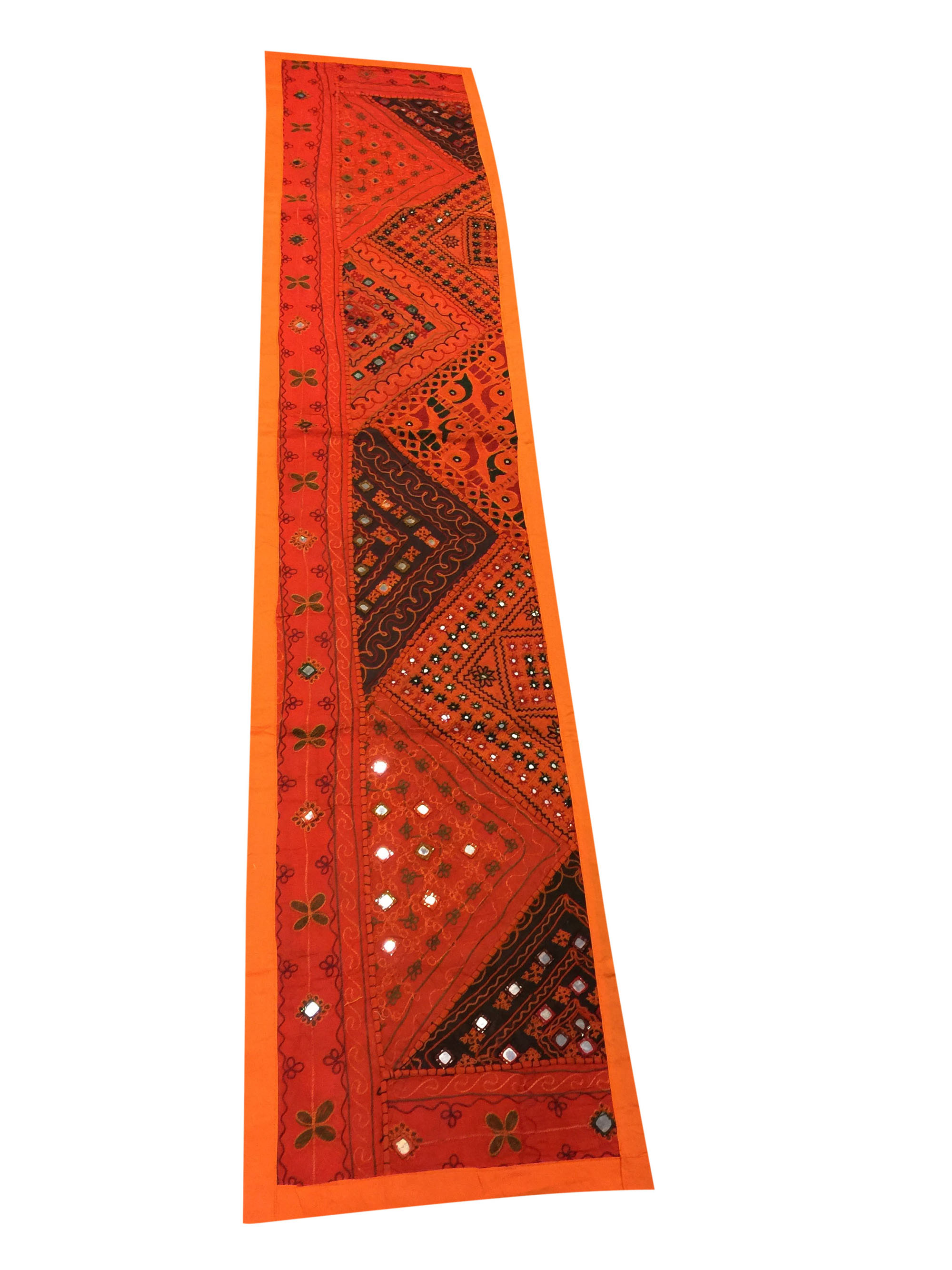 Mogul Table Runner Orange Mirror Work Embroidered Tapestry Bohemian Interior