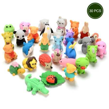 Animal Erasers for Kids, 30pcs Japanese Pencil Erasers Set, Cute Mini Puzzle Eraser Toys for Novelty Party and School Supplies