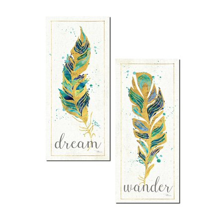 Gorgeous Watercolor Style Teal and Gold 'Dream' and 'Wander' Feather Panel Set by Pela; Two 8x18in Poster Prints - Teal Feathers