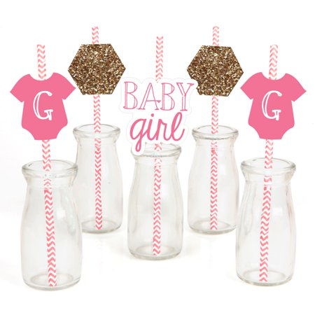 Girl Baby Shower Decor (Baby Girl - Paper Straw Decor - Baby Shower  Striped Decorative Straws - Set of)