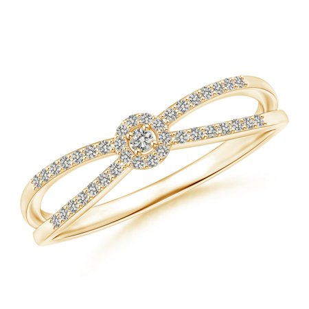 - Round Diamond Cluster Split Shank Promise Ring in 14K Yellow Gold (Weight: 0.02ctwt)