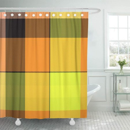 PKNMT Scottish Tartan Plaid in Yellow and Orange Shades Abstract Big Black Breakfast Check Shower Curtain Bath Curtain 66x72