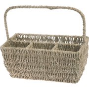 Boston International Seagrass Flatware Basket Caddy with Handle
