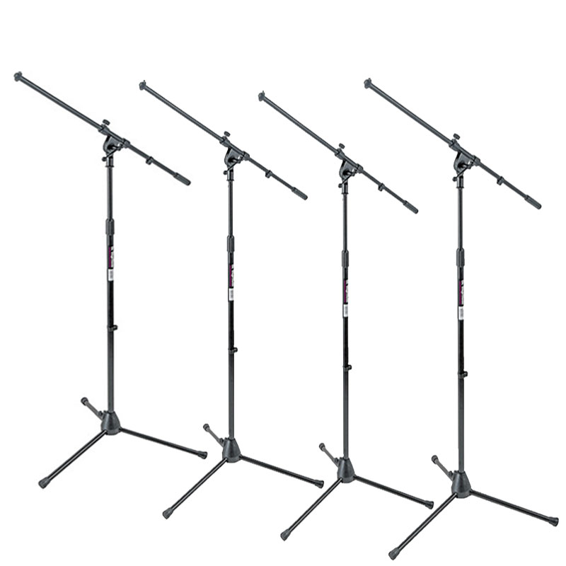 On-Stage Stands MS7701B Tripod Euro Boom Microphone Mic Stand Package 4 Stands