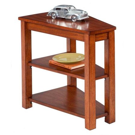 Chairsides Transitional Style Chairside Table with Wedge Shape Top & 2 Shelves, Poplar Birch Veneer 3 Piece Birch Table