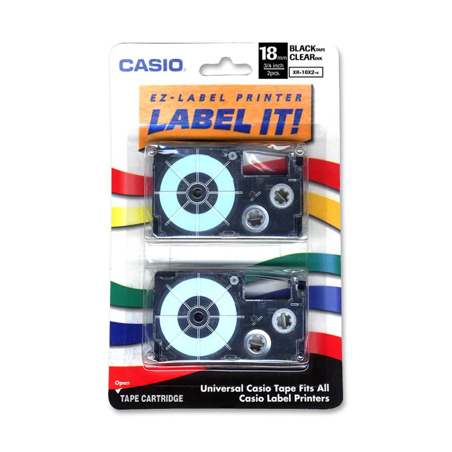 Casio Tape Cassettes for KL Label Makers, 18mm x 26ft, Black on Clear, 2/Pack