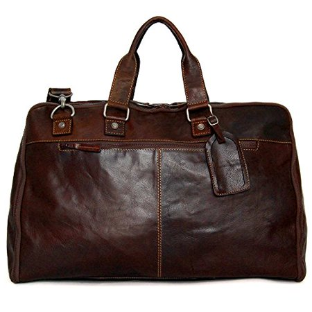 Jack Georges Voyager Large Convertible Valet Bag Leather Duffel In Brown