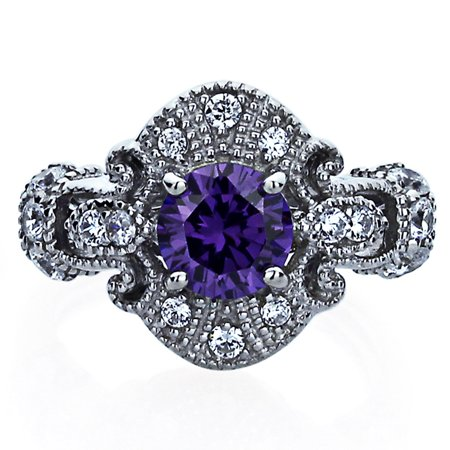 Men's Sterling Silver 1ct Round Simulated Amethyst CZ Vintage Style Cocktail Ring ( Size 5 to 9 )
