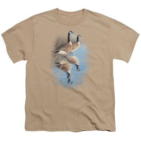 Wildlife/Morning Reflections Canada Geese S/S Youth 18/1 Sand Ww115