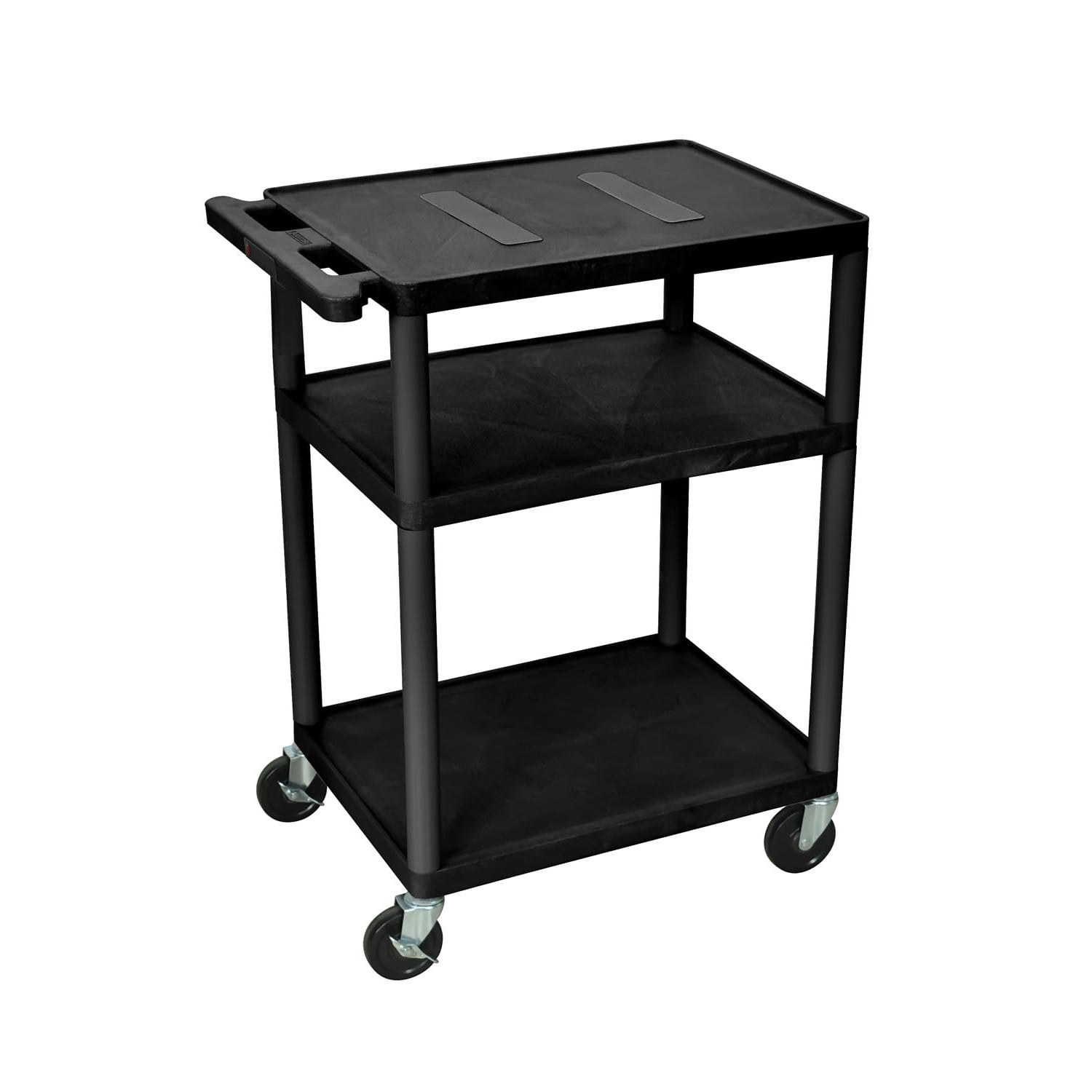 Offex  Endura Black 3-shelf Rolling A/V Utility Cart With Casters