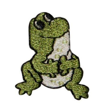 Frog Applique Pattern (ID 0018A Sitting Frog Looking Up Embroidered Iron On Applique Patch )