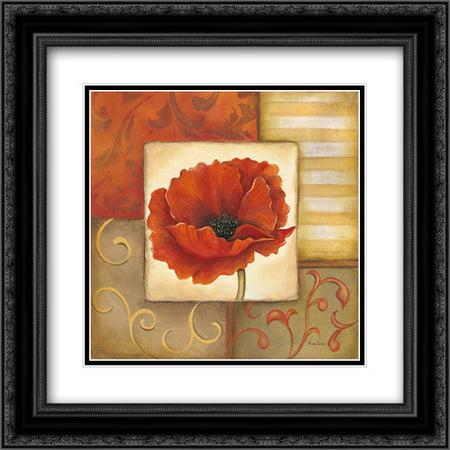 Orange Poppy I 2x Matted 20x20 Black Ornate Framed Art Print by Lewis,