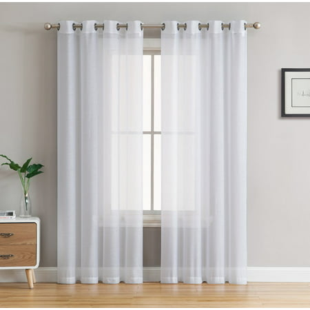 White Kids Furnitures - HLC.ME 2 Piece Semi Sheer Voile Window Curtain Drapes Grommet Top Panels for Bedroom, Living Room & Kids Room - Set of 2 panels