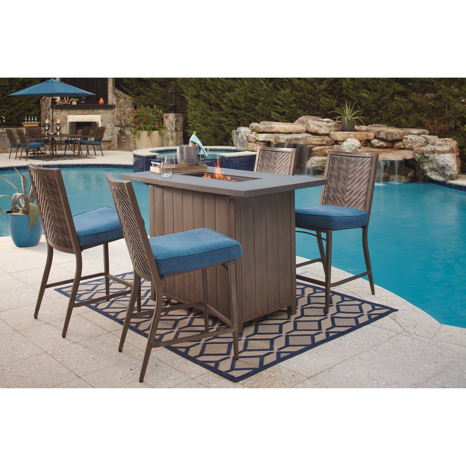 Great Signature Design By Ashley Partanna Propane Gas Rectangular Bar Height Fire  Pit Table