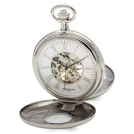 Charles Hubert Pocket Watch (Lex & Lu Charles Hubert Chrome Finish White Dial Pocket Watch XWA4908)