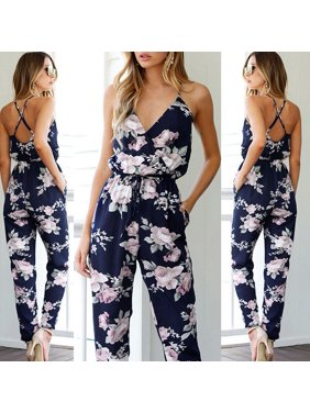 Women Ladies V Neck Loose Playsuit Party Romper Short Sleeve Long Jumpsuit Sexy